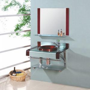 Rectangular Colorful Glass Basin Vanity Set