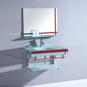 Single Wall Hung Glass Vanity Made In China Factory