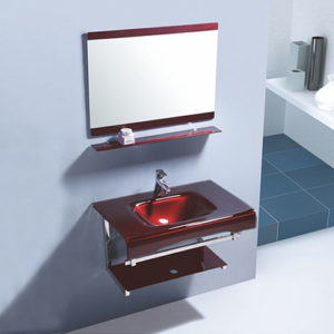 Wall Mounted Red Glass Sink Made In China Basin