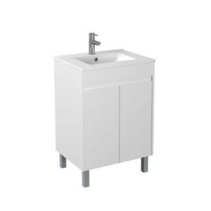 Handle Free 600mm Gloss White Vanity Square Legs