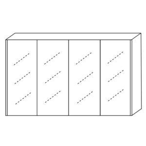 Copper Free Quadruple Door 1200mm Mirror Cabinet
