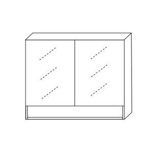 Mirror Cabinet 900mm Two Doors With Undershelf