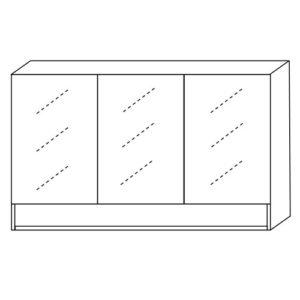 Mirror Cabinet 1200mm Three Doors With Undershelf