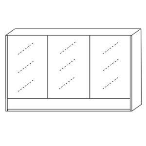 Shaving Cabinet 1200mm Three Doors One Undershelf