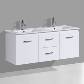 Double Sink Gloss White Wall Hung Vanity Unit