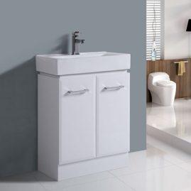 600mm Floor Standing White Glossy Vanity 320mm Depth